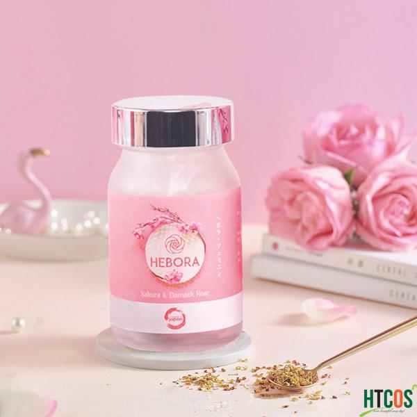 Viên uống làm thơm cơ thể Hebora Sakura Damask Rose 60v của Nhật Bản - Giúp cơ thể tỏa hương, ổn định nội tiết