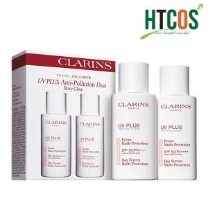 Set 2 Chai Kem Chống Nắng Clarins UV Plus Anti Pollution Duo Rosy Glow SPF50/PA++++ 50ml Pháp