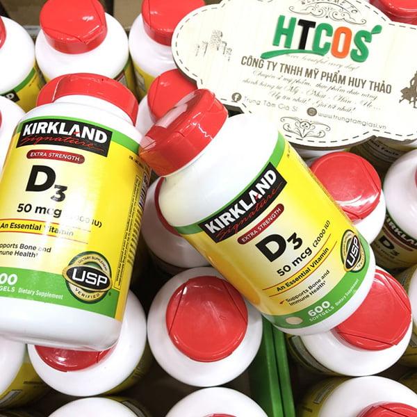 Viên Uống Vitamin D3 Kirkland Signature Extra Strength D3 50mcg 600 Viên Mỹ mua ở đâu